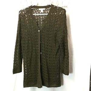 Coldwater Creek Womans Size Large Green Cardigan